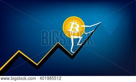 Bitcoin Btc Is Climbing To The Next Peak. Cryptocurrency Has All Time High. Btc Coin To The Moon.