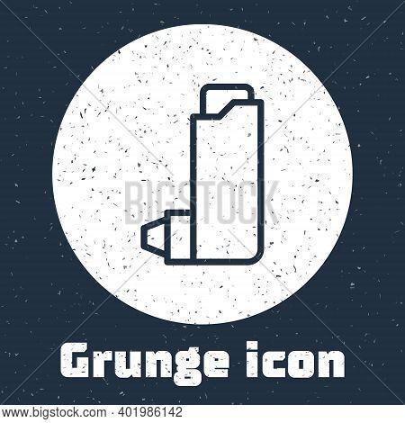 Grunge Line Inhaler Icon Isolated On Grey Background. Breather For Cough Relief, Inhalation, Allergi