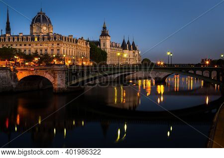 Landscape At The Blue Hour In The Morning On The Conciergerie In Paris, France