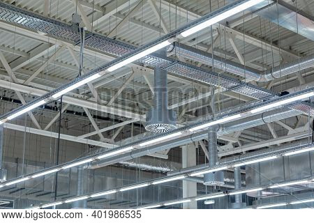 Ceiling Air Conditioning Of The Stadium Or Exhibition Hall Roof. Lamps With Diode Lighting And Venti