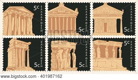 Set Of Postage Stamps On The Theme Of Ancient Greek Culture And Antique Art. Vector Collection Of Po