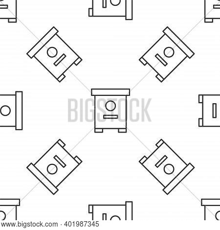 Grey Line Hive For Bees Icon Isolated Seamless Pattern On White Background. Beehive Symbol. Apiary A