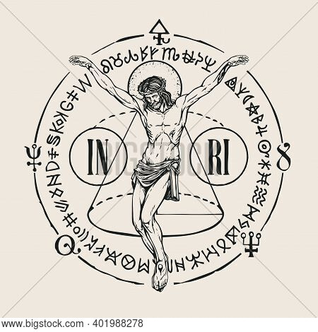 Hand-drawn Crucifix Of Jesus Christ With Alchemical And Masonic Symbols. Abstract Vector Banner In R