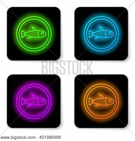 Glowing Neon Line Served Fish On A Plate Icon Isolated On White Background. Black Square Button. Vec