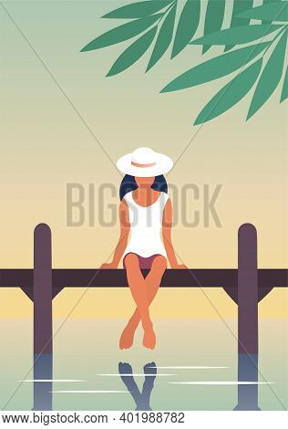 A Young Woman Is Resting By The River. A Girl Are Sitting On A Pier Above The Water. Calm Rest. Vect
