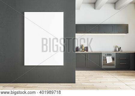 Modern Gray Kitchen Interior With Furniture, Daylight And Empty Frame On Concrete Wall. Mock Up, 3d