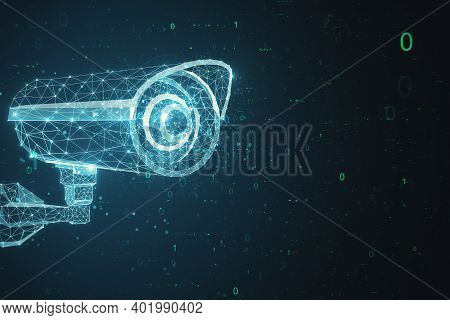Polygonal Security Cctv Camera Hologram On Dark Background.  Technology And Security Concept. 3d Ren