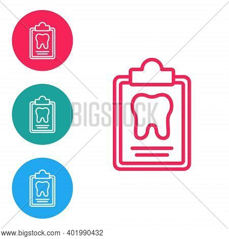 Red Line Clipboard With Dental Card Or Patient Medical Records Icon Isolated On White Background. De