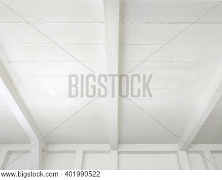 Reed White Wooden Roof Perspective Background. White Ceiling Beams Pattern Background.white Wooden C