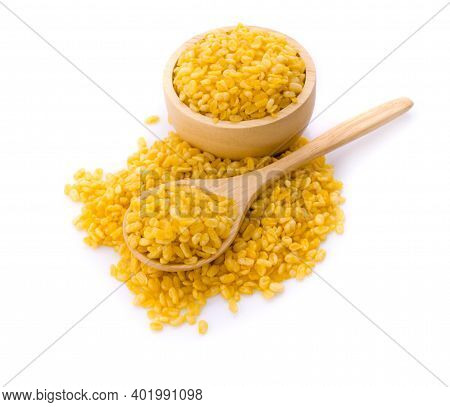 Yellow Split Mung Dal Or Moong Dal Pile Isolated On White Background
