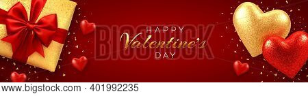 Happy Valentines Day Banner Or Header Website. Realistic Gift Box With Red Bow, And Shining Red And