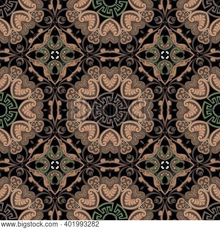 Paisley Seamless Pattern. Greek Style Vector Background. Beautiful Ornate Colorful Ornament. Repeat