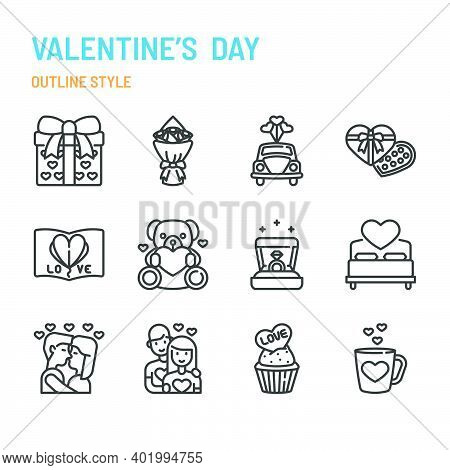 Valentine's Day In Outline Icon And Symbol Set