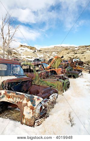 Abandoned Cars In Junkyard