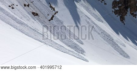 Avalanche In High Snowy Mountains. Panoramic View. Remote Location.