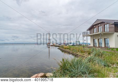 Puck, Poland - September 20, 2020: View Of Bay Of Puck Or Puck Bay With Boats In Harbor.