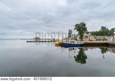 Puck, Poland - September 20, 2020: Puck Marina At Cloudy Day.