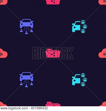 Set Car Sharing, , Share Folder And Music Streaming Service On Seamless Pattern. Vector