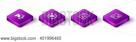 Set Isometric Car Sharing, Refund Money, Share File And Data Exchange With Hhd Icon. Vector