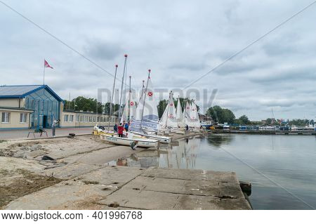 Puck, Poland - September 20, 2020: Sailing Boats At Scout Sea Center In Puck.