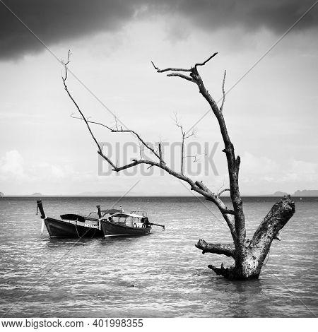 Boat On East Railay Bay Beach, Thailand - Bw