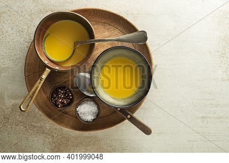 Healthy Turmeric Or Curcuma Soup. Golden Milk, Made With Turmeric And Other Spices