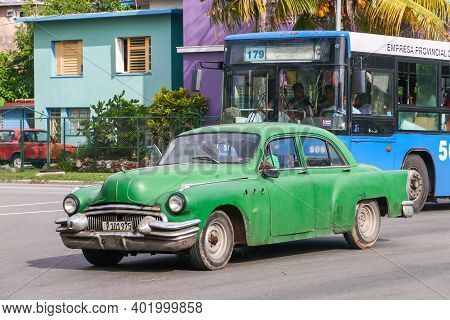 Havana, Cuba - June 6, 2017: Green Vintage Car Buick Special In The City Street.