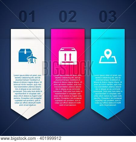 Set Plane And Cardboard Box, Cardboard With Traffic And Placeholder On Map. Business Infographic Tem