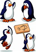 A vector set of a penguin in many poses: standing while waving his hand, sad & weeping the tears, jumping in excitement & raising his hand, and standing while holding a sign. Drawn in cartoon style, this vector is very good for design that needs a poster