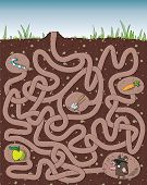 Mole Maze Game for children with solution in hidden layer. Illustration is in eps10 vector mode. poster