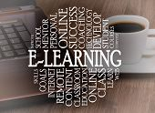 Word cloud e-learning concept with a e-learning background poster