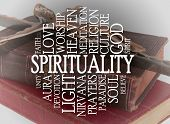 Spirituality word cloud with a religious background poster