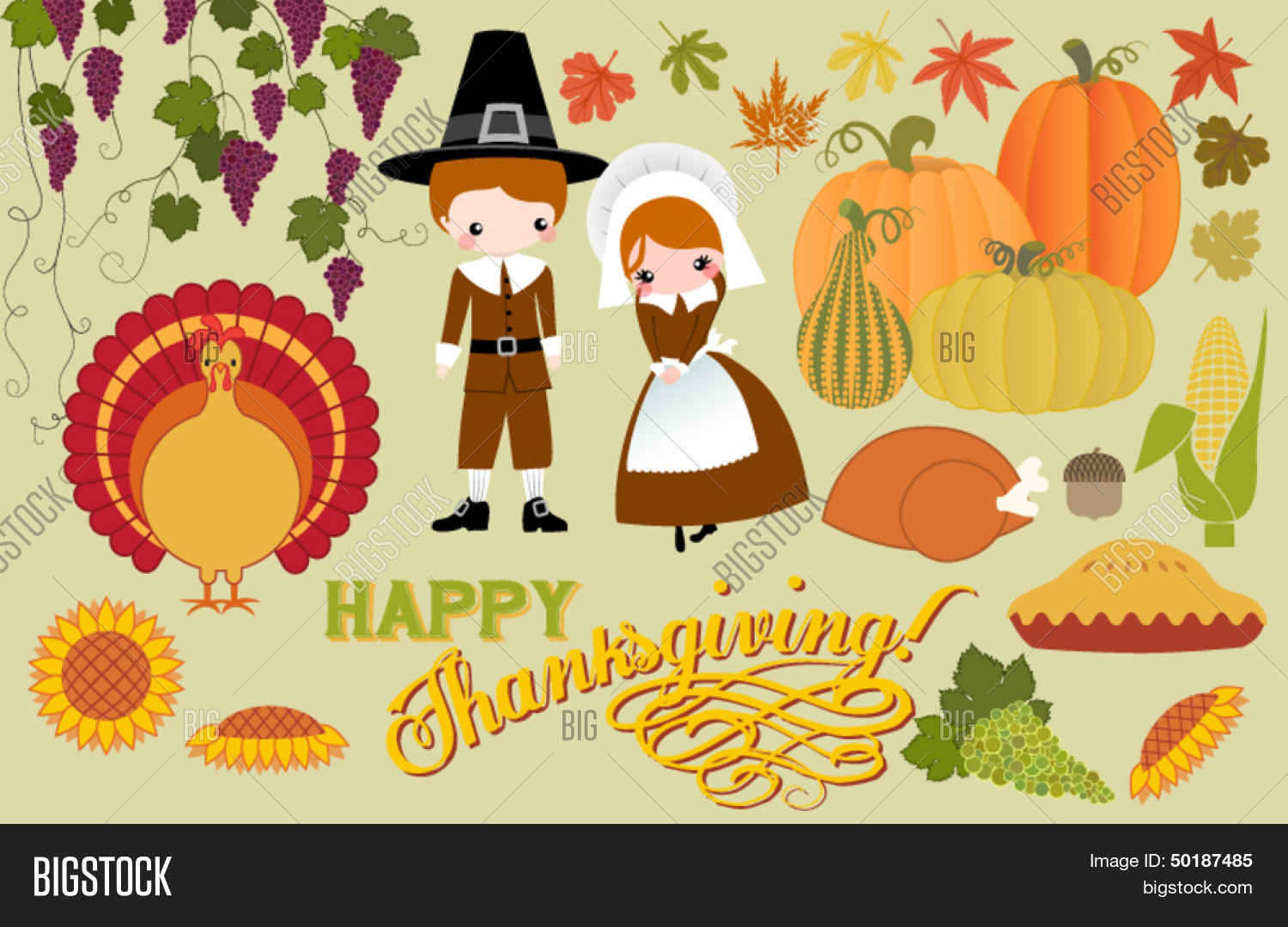 Thanksgiving Symbols Vector Photo Free Trial Bigstock