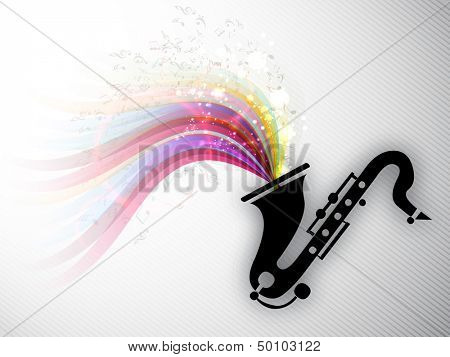 Colorful musical notes coming out from saxophone, can be use as flyer, poster or banner in music concept and parties.