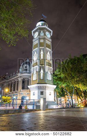 Clock Downtown Night Scene Guayaquil Ecuador South America