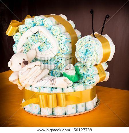 Diaper Snail Cake