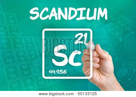 Hand drawing the symbol for the chemical element scandium