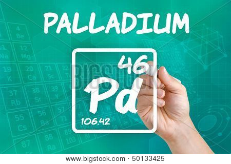Hand drawing the symbol for the chemical element palladium