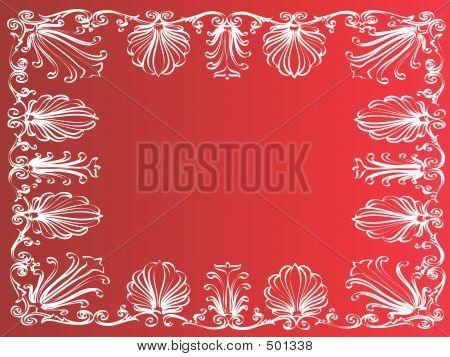 White Frame On Red Background