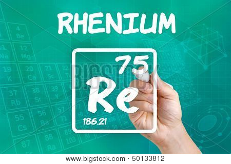 Hand drawing the symbol for the chemical element rhenium