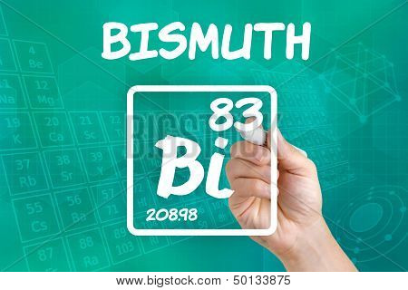 Hand drawing the symbol for the chemical element bismuth