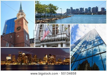 Boston Massachusetts Famous Landmarks Picture Collage - Usa