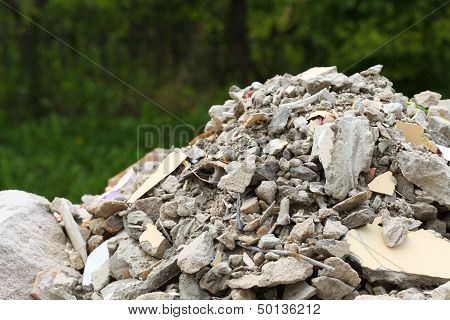 Full construction waste debris bags garbage bricks pile of rubble and material from demolished house poster