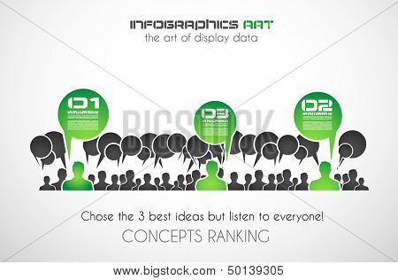 Infographic design template with paper tags. Idea to display information, ranking and statistics with orginal and modern style.