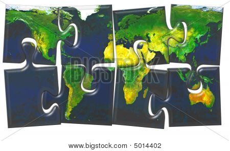 World Map Maden From Jigsaw Puzzle