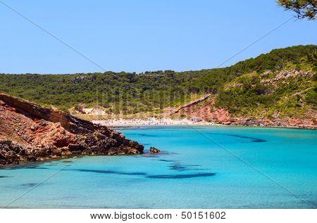 Cala de Algariens seascape in sunny day at Menorca, Spain. poster