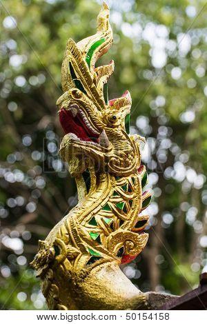 Naga Lanna Gable Apex In Wat Fa Ham , Chiangmai Thailand