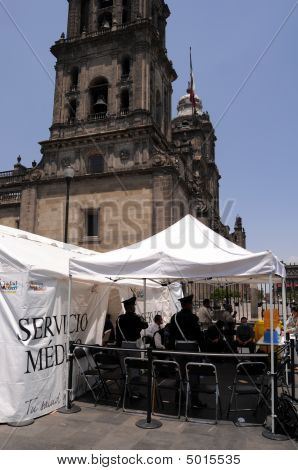 Tent Clinic At Mexico City Cathedral