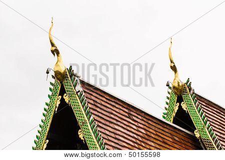 Naga Lanna Gable Apex On Ubosot , In Wat Buak Krok Luang , Chiangmai Thailand