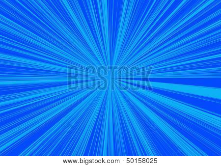 a two tone blue coloured background with a star burst effect poster